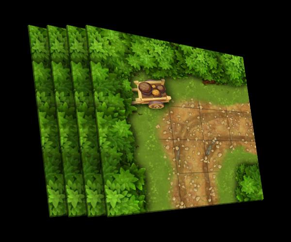 4 karty [L] zakrętu leśnej drogi