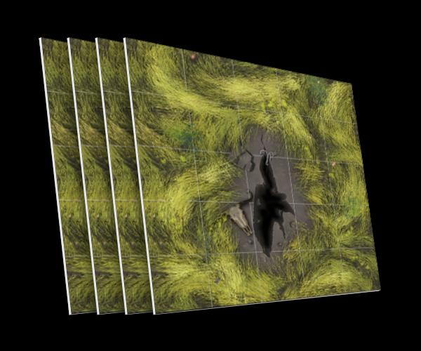 4 karty z rozpadliną - terenem niedostępnym